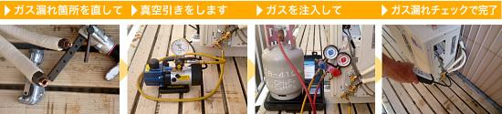 エアコン ガスチャージの工程
